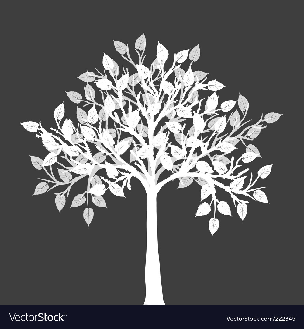 White tree silhouette vector | Price: 1 Credit (USD $1)