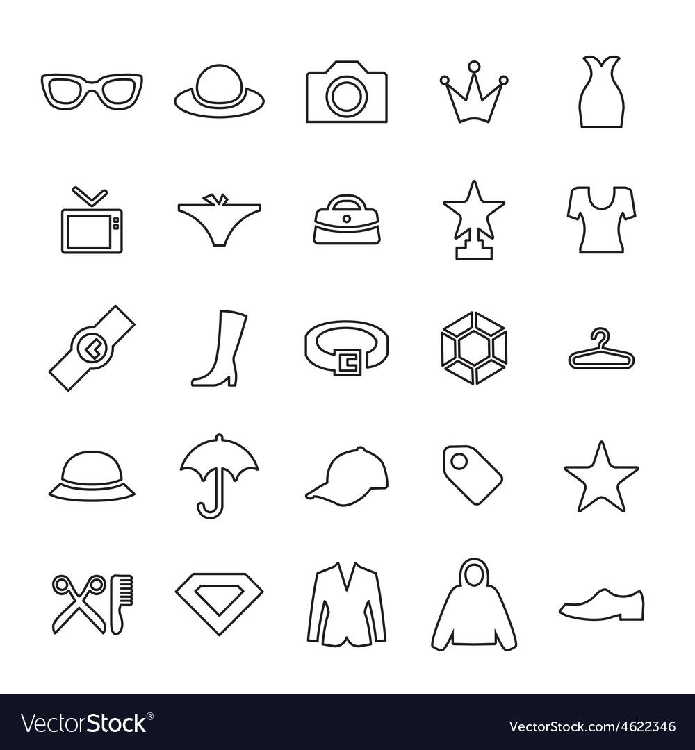 25 outline universal fashion icons vector | Price: 1 Credit (USD $1)
