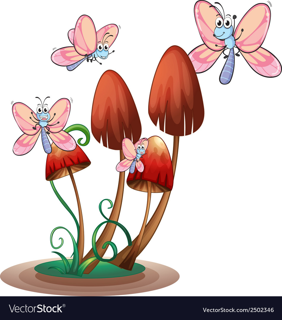 Butterflies surrounding the plants vector | Price: 1 Credit (USD $1)