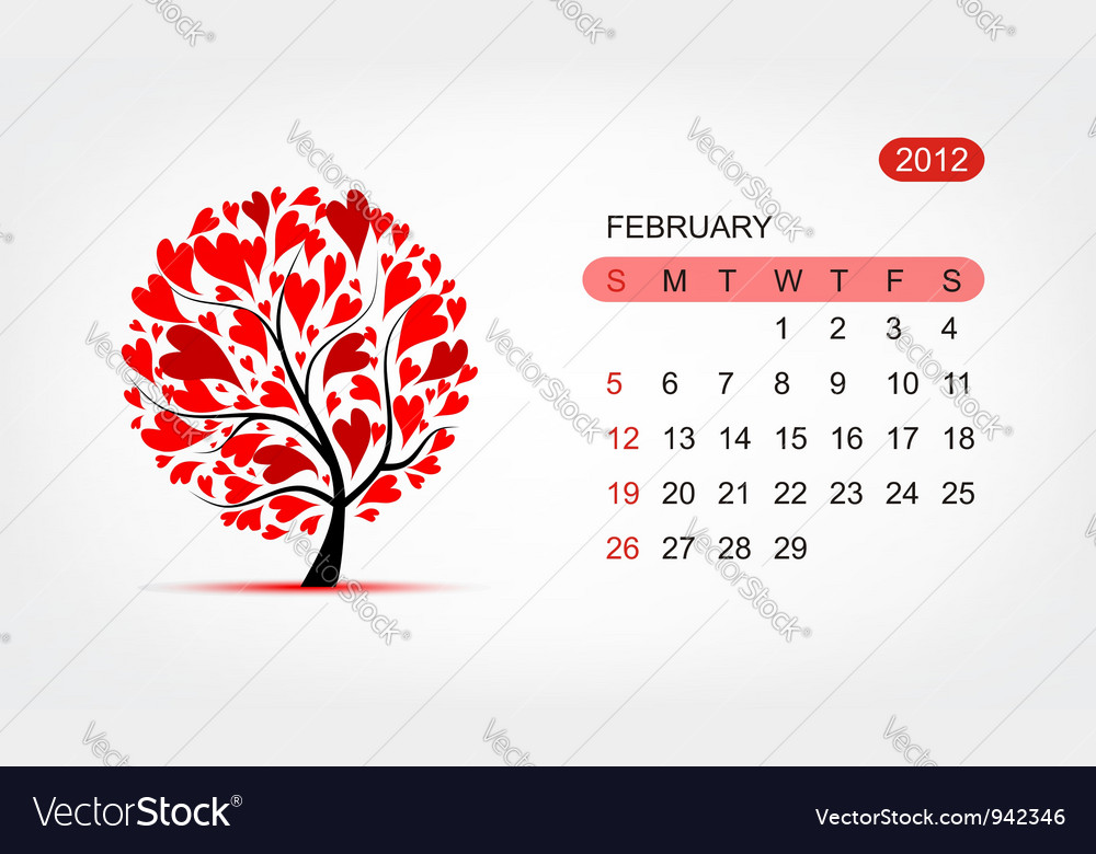 Calendar 2012 february art tree design vector | Price: 1 Credit (USD $1)