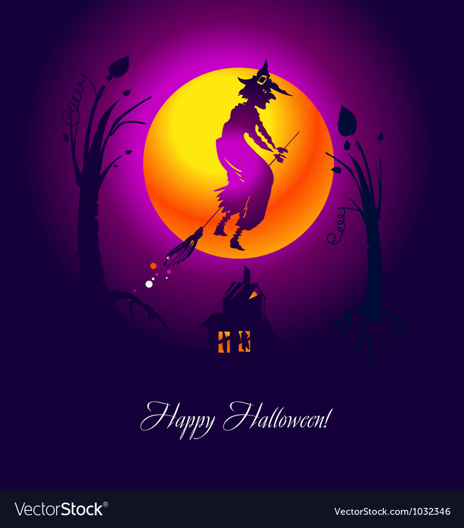 Card halloween witch violet vector | Price: 1 Credit (USD $1)