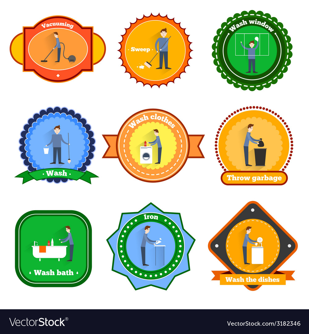 Cleaning label set vector | Price: 1 Credit (USD $1)