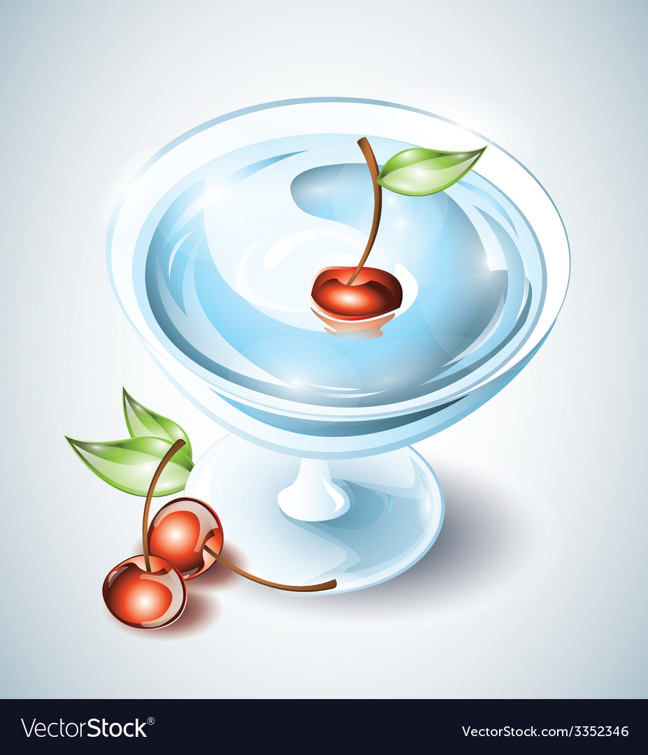 Cocktail drink with cherries vector | Price: 3 Credit (USD $3)