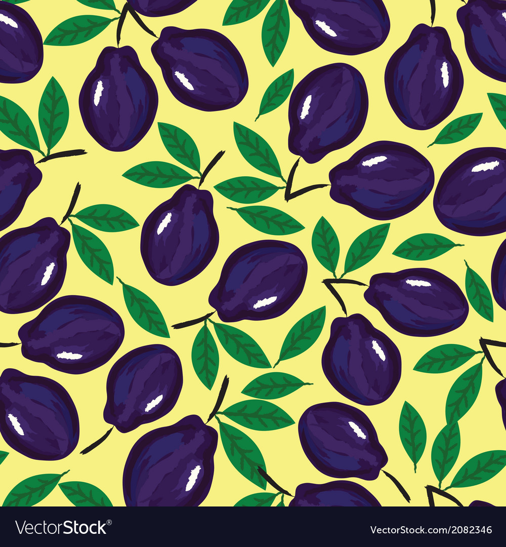 Fruit plum watercolor seamless vector | Price: 1 Credit (USD $1)