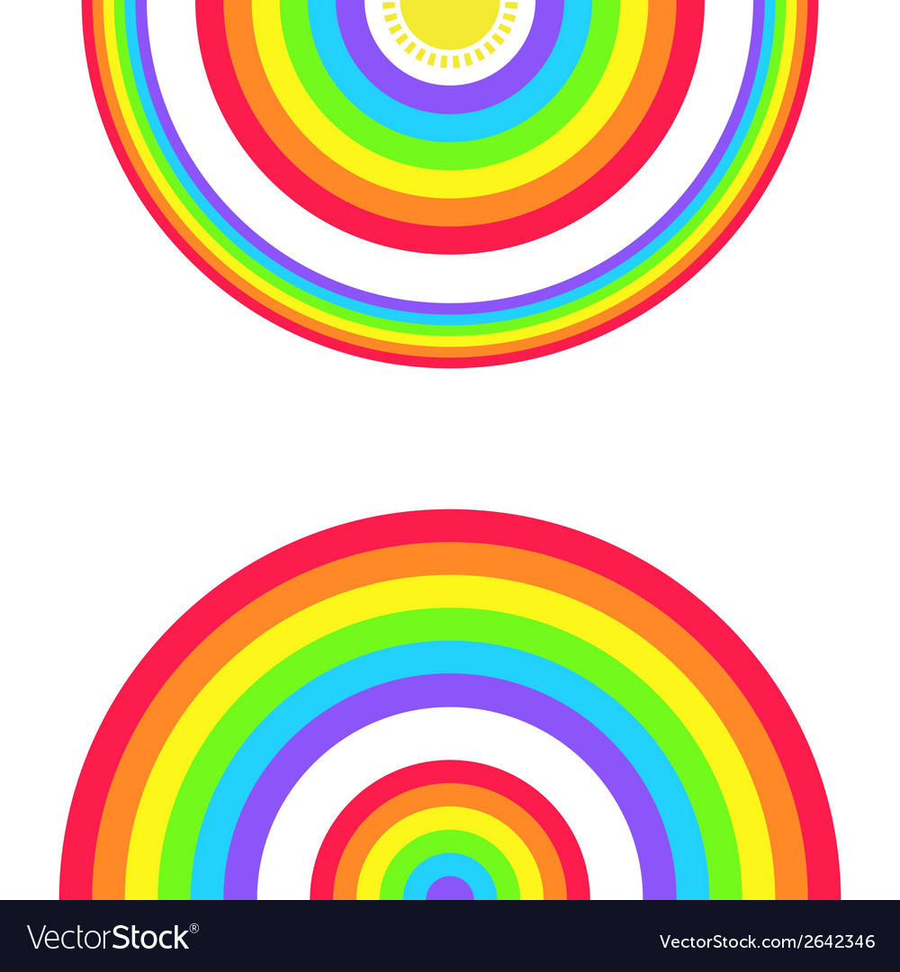 Greeting card with a set of rainbows and the sun vector | Price: 1 Credit (USD $1)