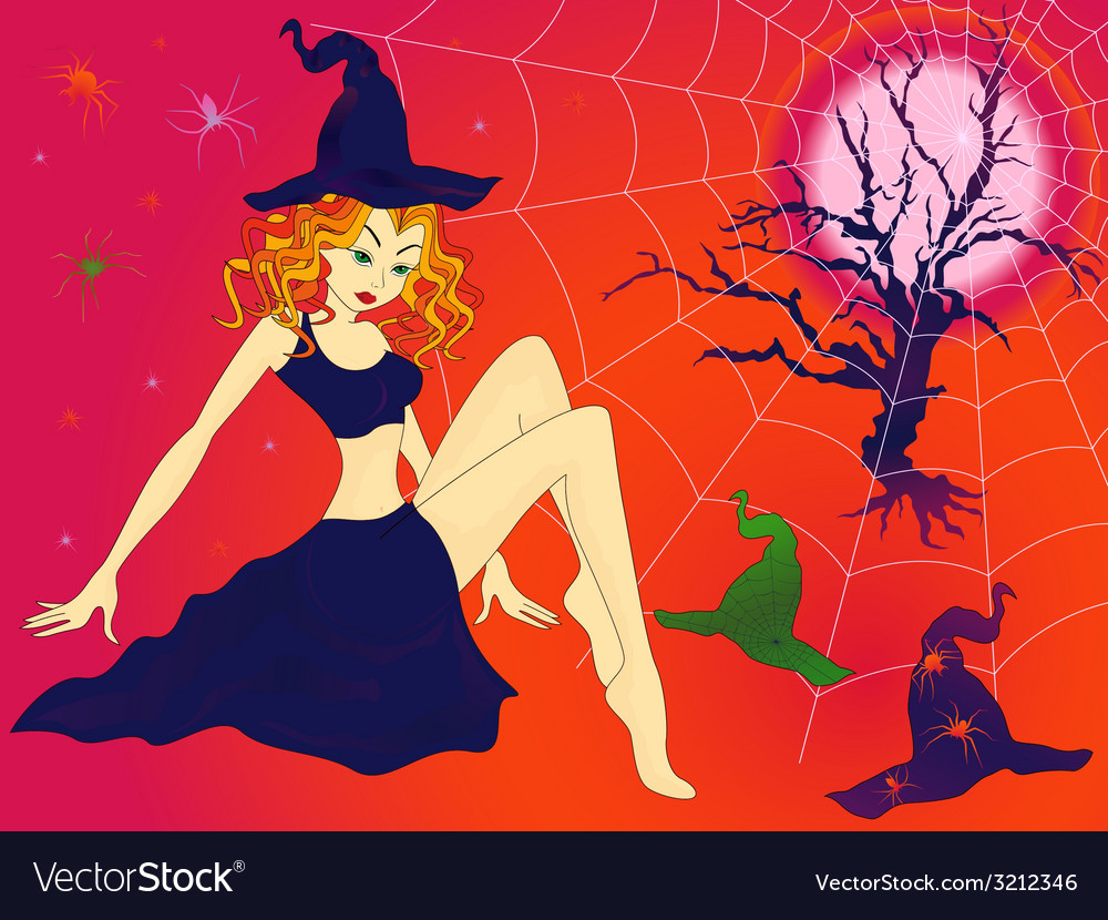 Halloween girl in sinister moonlight night vector | Price: 1 Credit (USD $1)