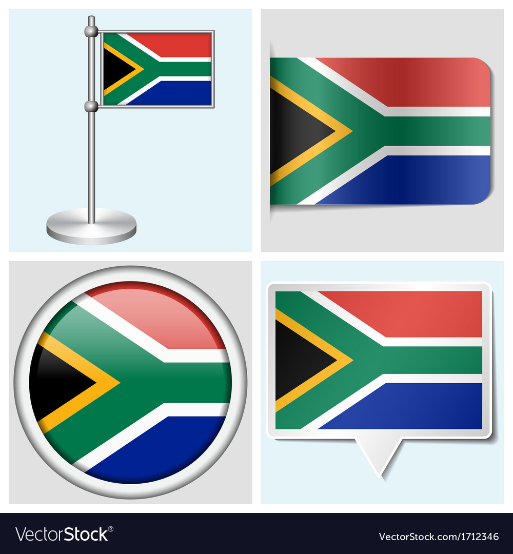 South africa flag - sticker button label vector | Price: 1 Credit (USD $1)
