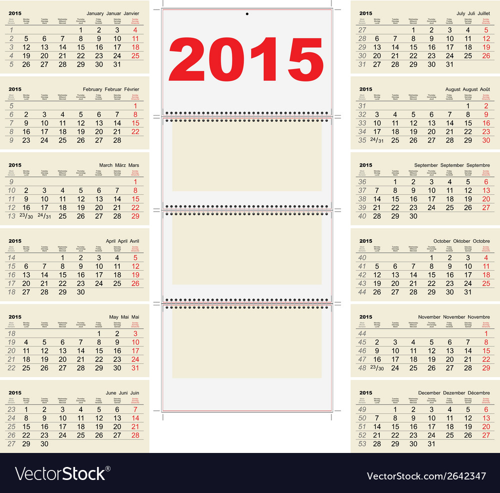 2015 quarterly calendar template vector | Price: 1 Credit (USD $1)