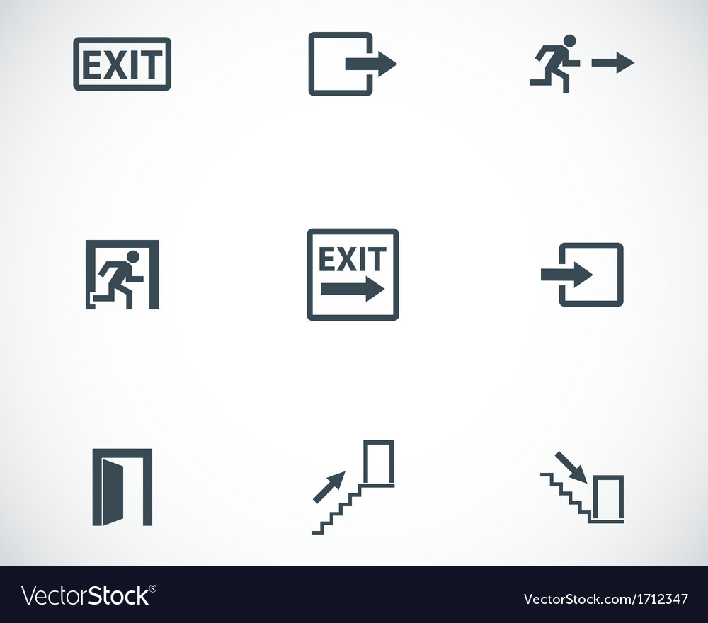 Black exit icons set vector | Price: 1 Credit (USD $1)
