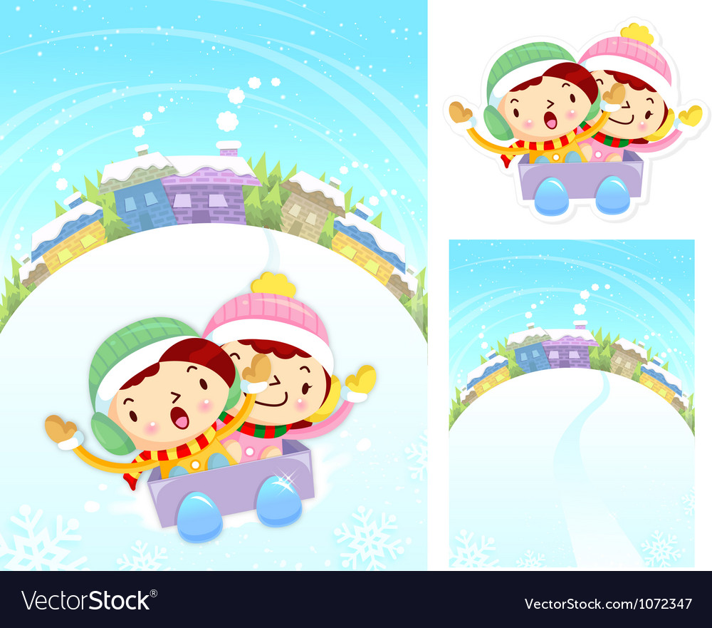 Boys and girls sleigh ride winter season vector | Price: 3 Credit (USD $3)