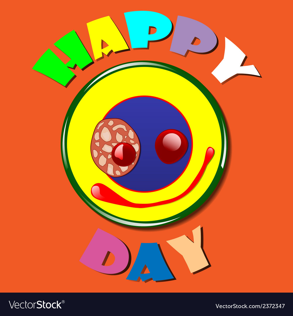 Comic yellow plate happy day vector | Price: 1 Credit (USD $1)