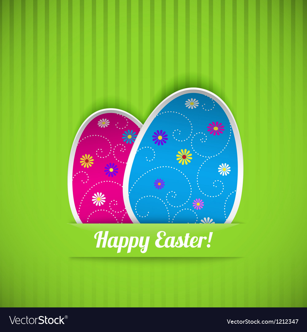 Easter card with two eggs vector | Price: 1 Credit (USD $1)