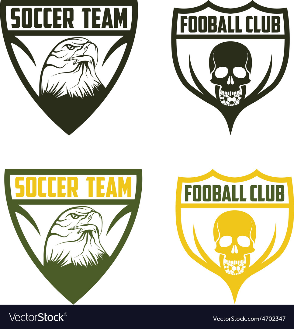 Football team crests set with eagle and skull vector   Price: 1 Credit (USD $1)