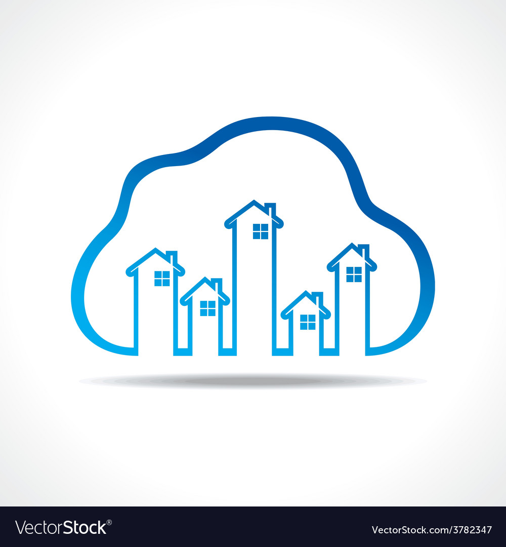 Group of up homes in the cloud vector | Price: 1 Credit (USD $1)