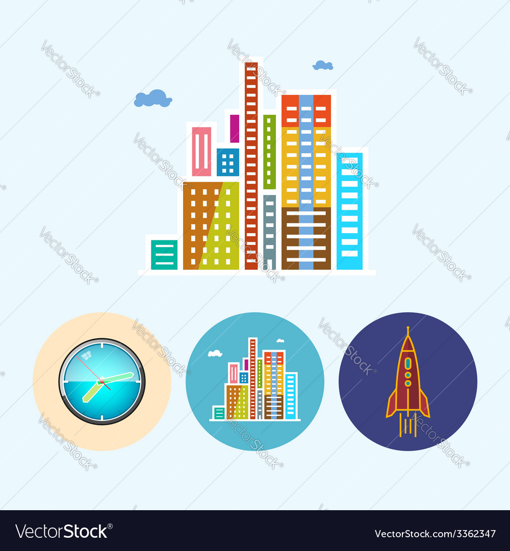 Set icons with colored wall clock modern buildi vector | Price: 1 Credit (USD $1)