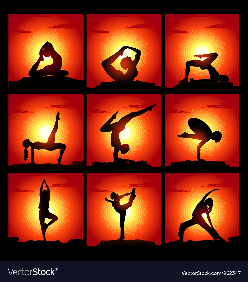 Set of of meditating and yoga poses vector | Price: 1 Credit (USD $1)