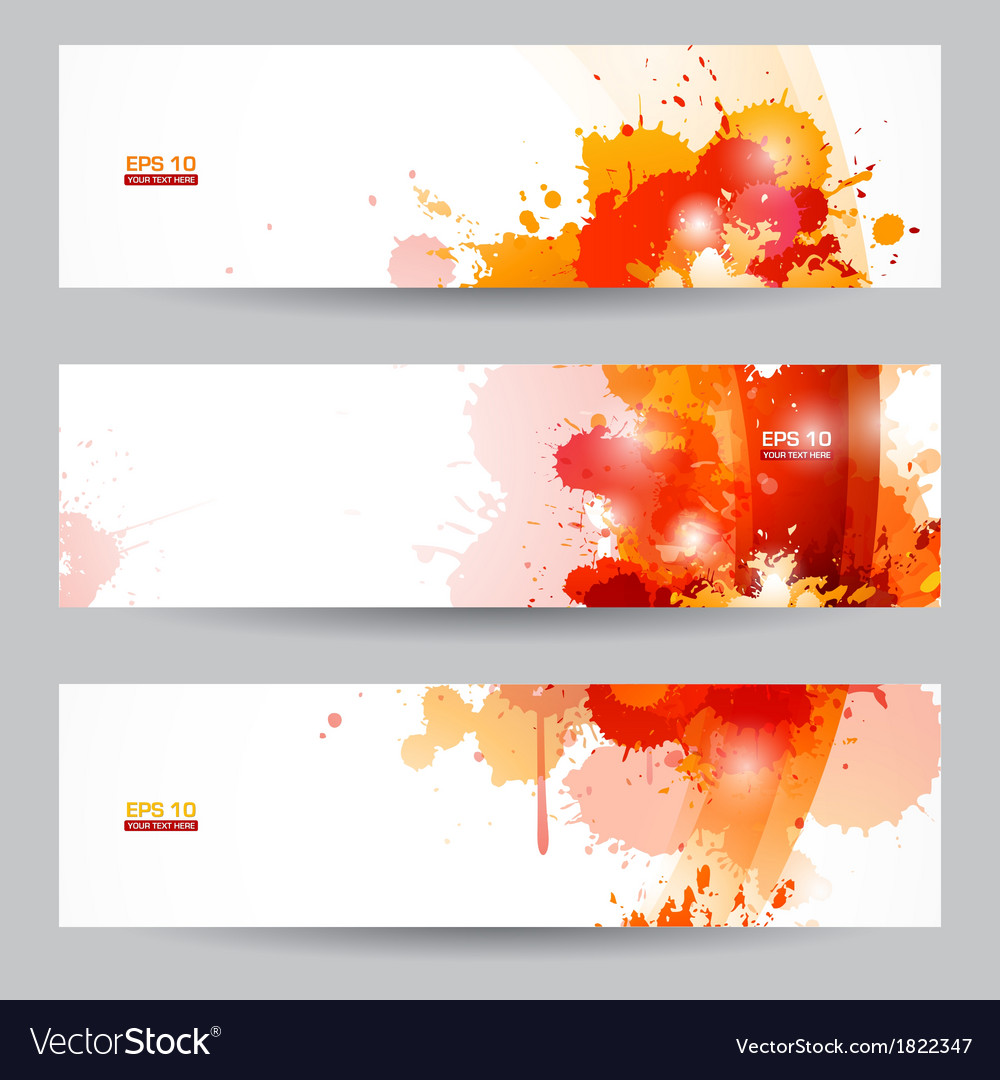 Three abstract artistic headers with paint splats vector | Price: 1 Credit (USD $1)