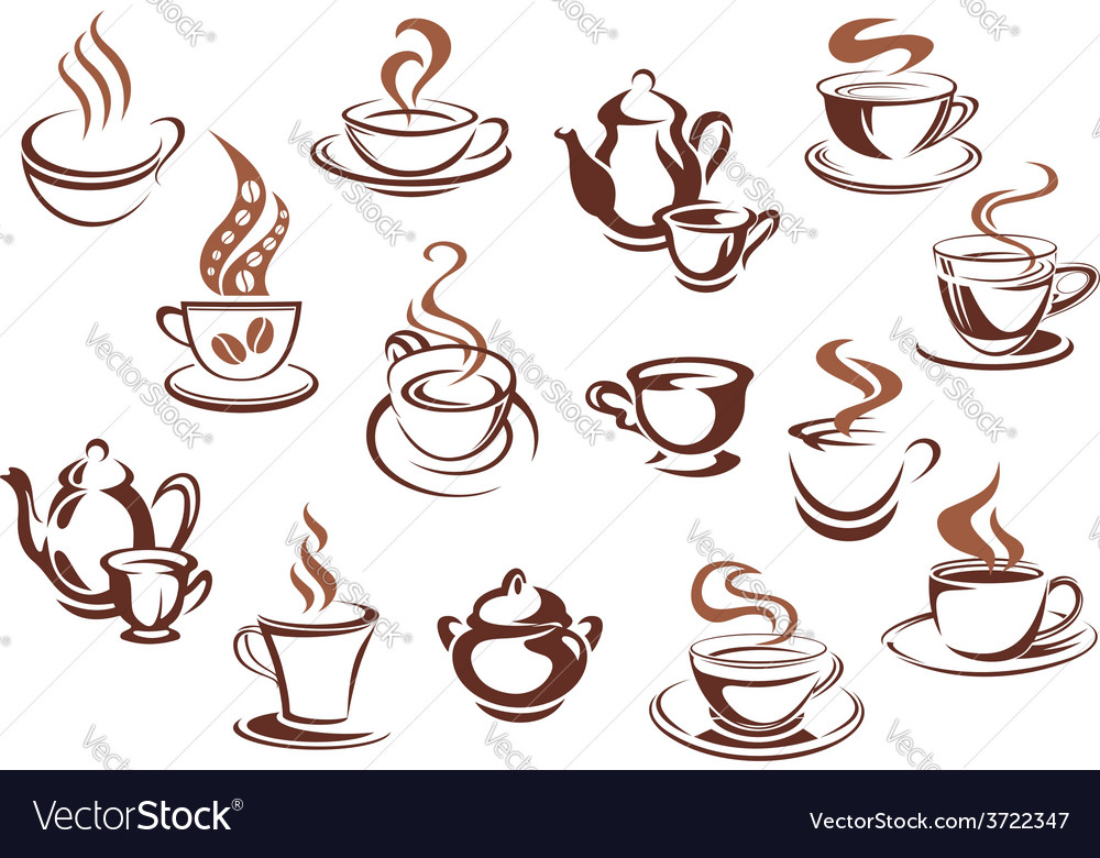Vintage brown coffee cups and pots vector | Price: 1 Credit (USD $1)
