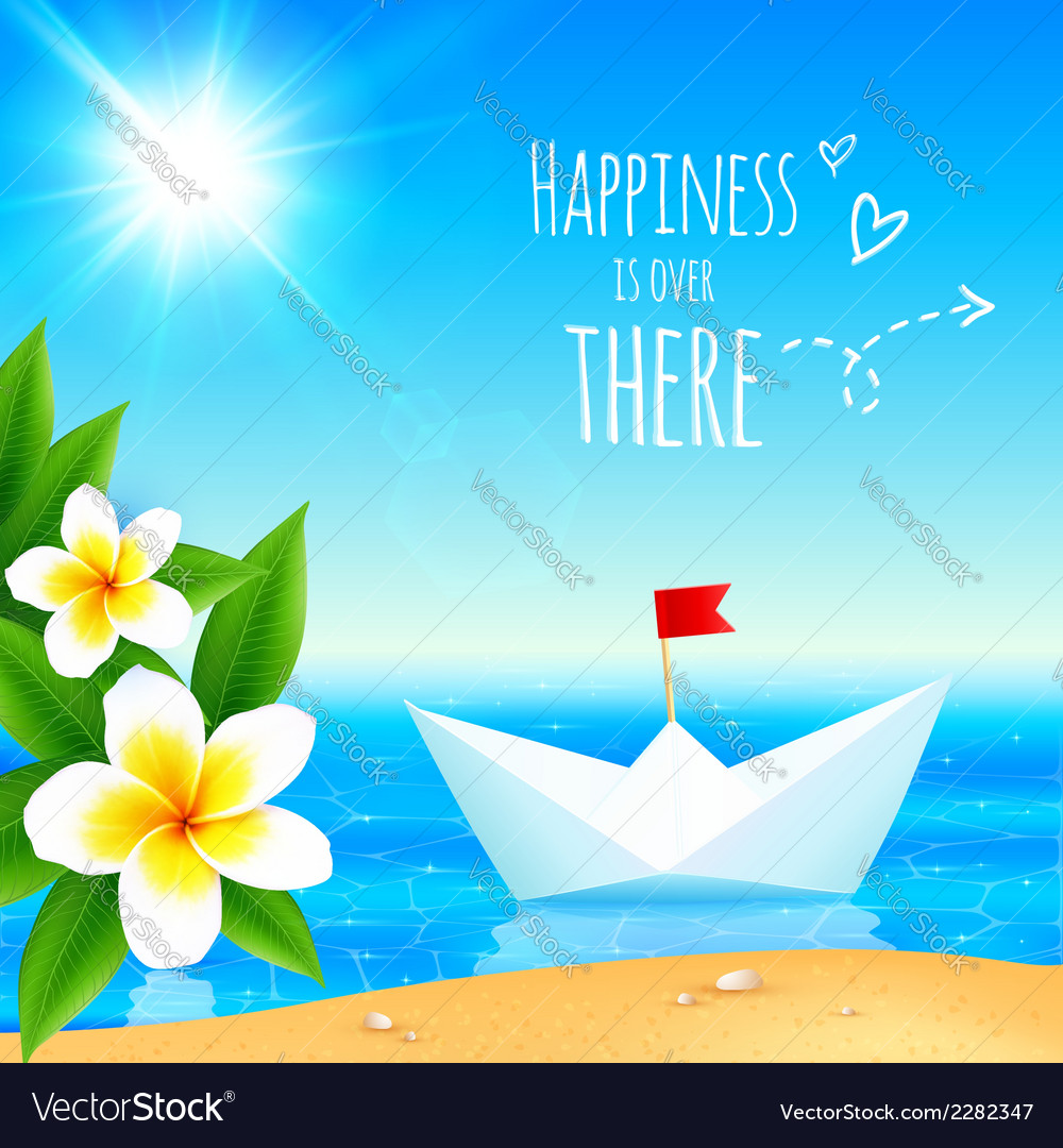 White paper boat near tropical island vector | Price: 1 Credit (USD $1)