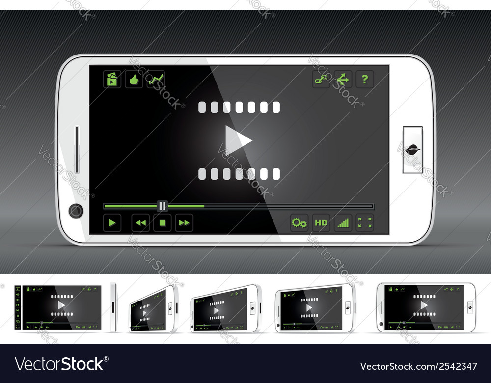 White smart phone video player vector | Price: 1 Credit (USD $1)