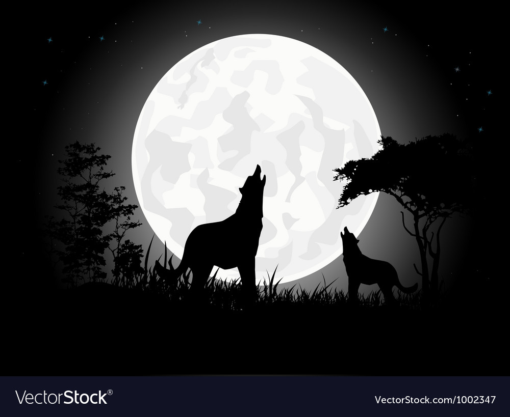 Wolf scream silhouette with giant moon background vector | Price: 1 Credit (USD $1)