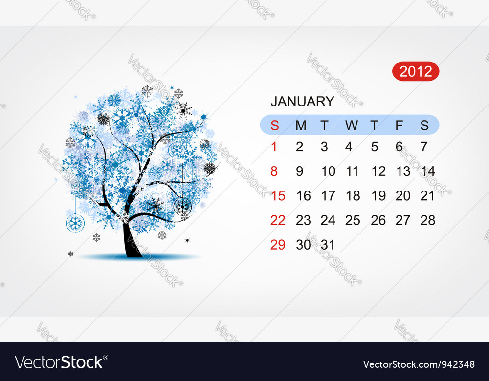Calendar 2012 january art tree design vector | Price: 1 Credit (USD $1)