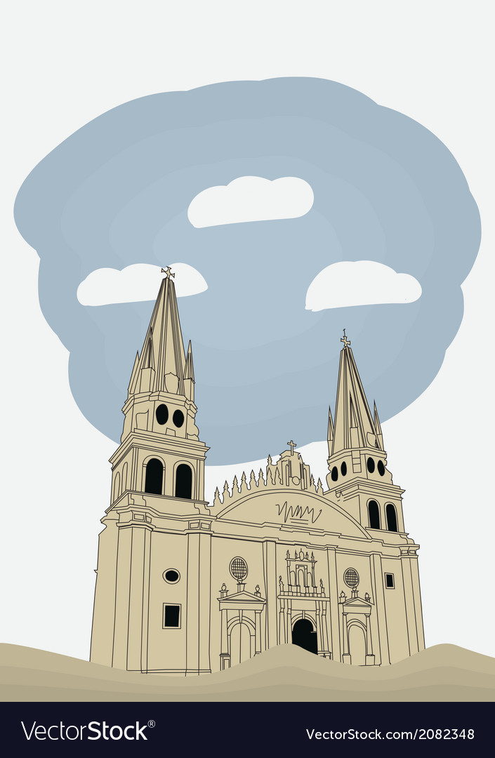 Cathedral in historic center in guadalajara vector | Price: 1 Credit (USD $1)