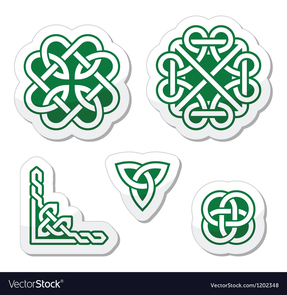 Celtic green knots patterns - vector | Price: 1 Credit (USD $1)