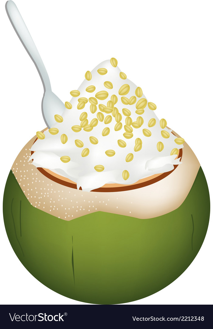 Coconut ice cream with split peas vector | Price: 1 Credit (USD $1)