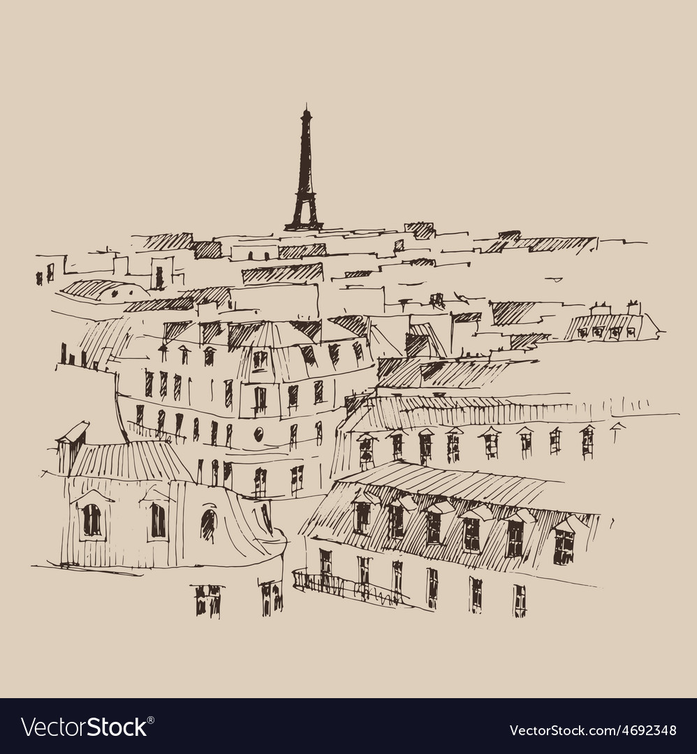 Eiffel tower paris france architecture vintage e vector | Price: 1 Credit (USD $1)