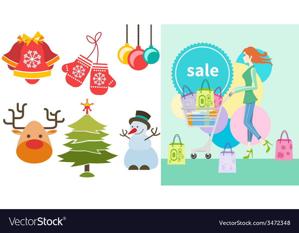 Girl with trolley shopping bag and lable vector | Price: 1 Credit (USD $1)