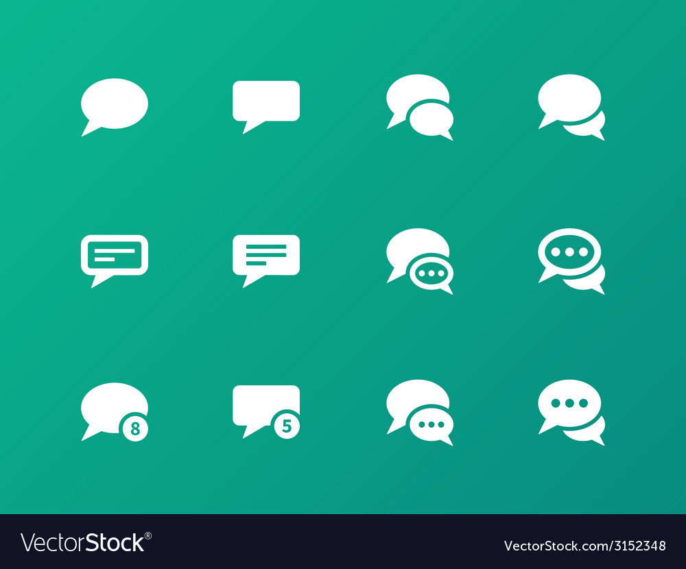 Message bubble icons on green background vector | Price: 1 Credit (USD $1)