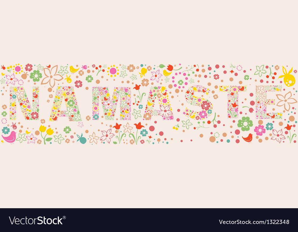 Namaste ornamental floral banner vector | Price: 1 Credit (USD $1)