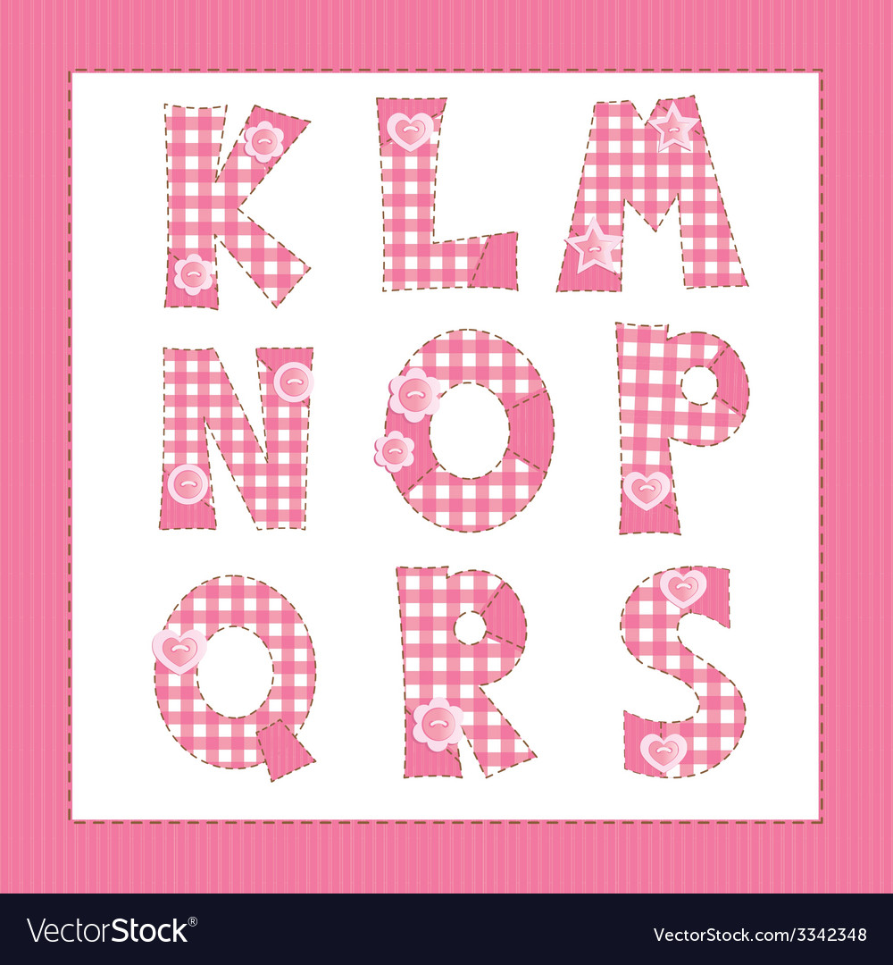 Pink fabric letters k l m n o p r s vector