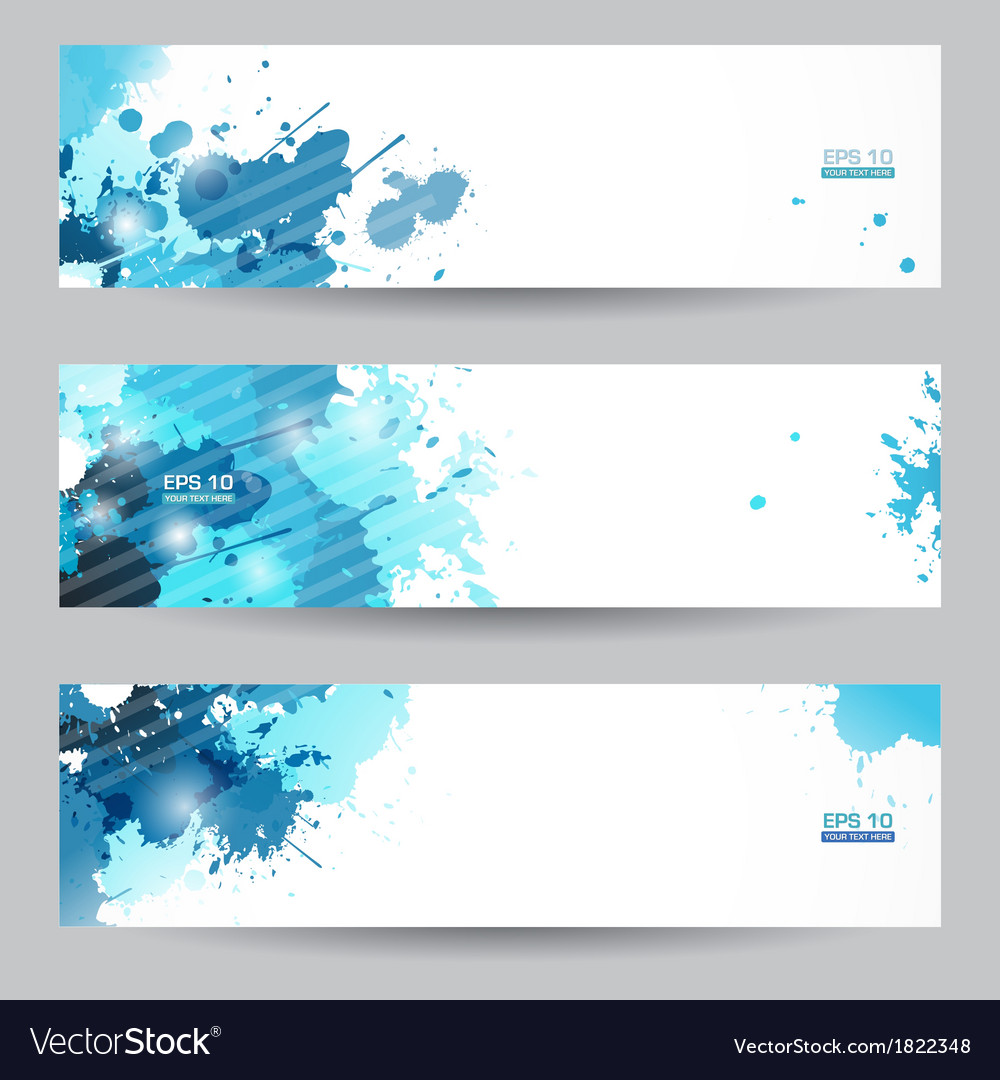 Three abstract artistic headers with blue splats vector | Price: 1 Credit (USD $1)