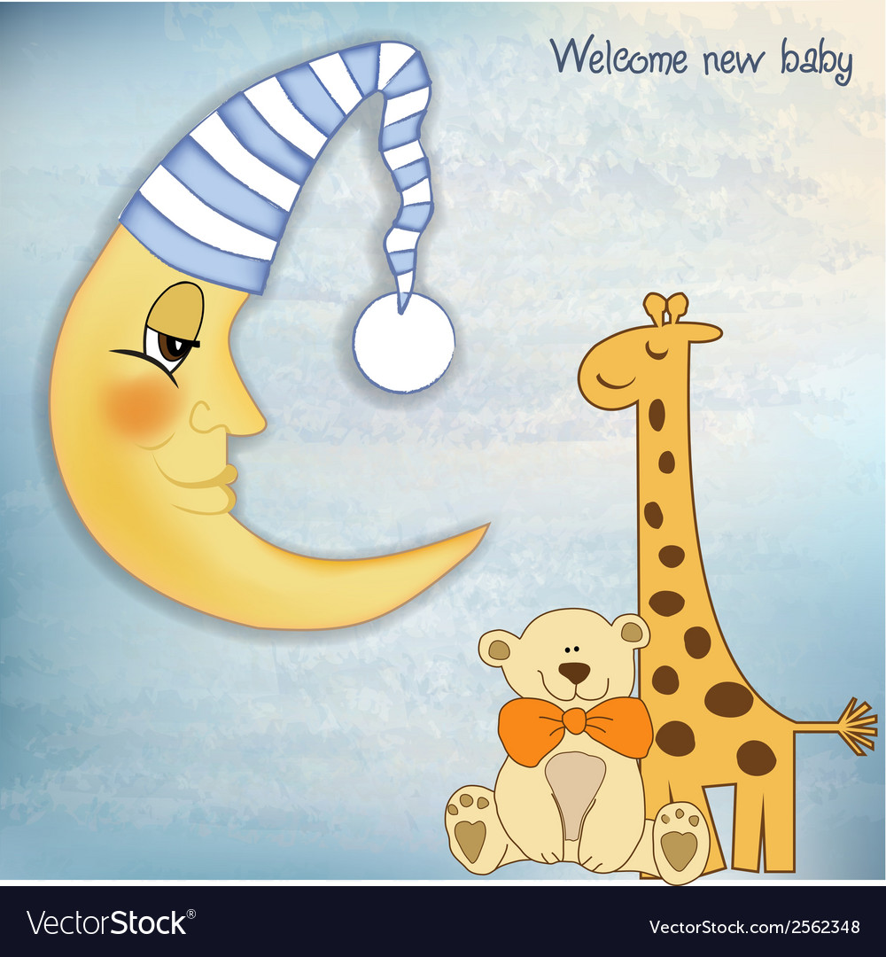 Welcome baby greetings card vector | Price: 1 Credit (USD $1)