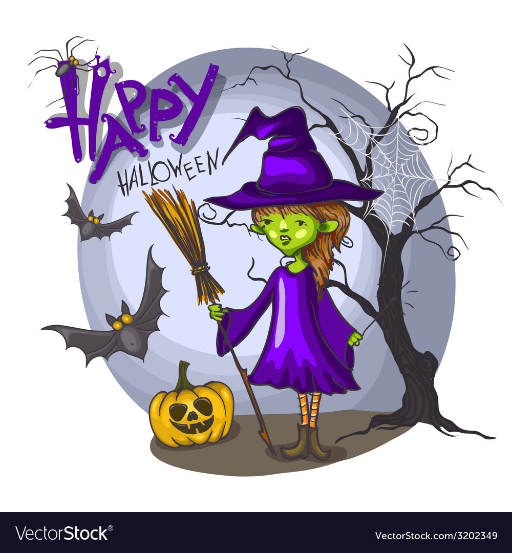 Cartoon witch girl with bat broom and pumpkins vector | Price: 1 Credit (USD $1)