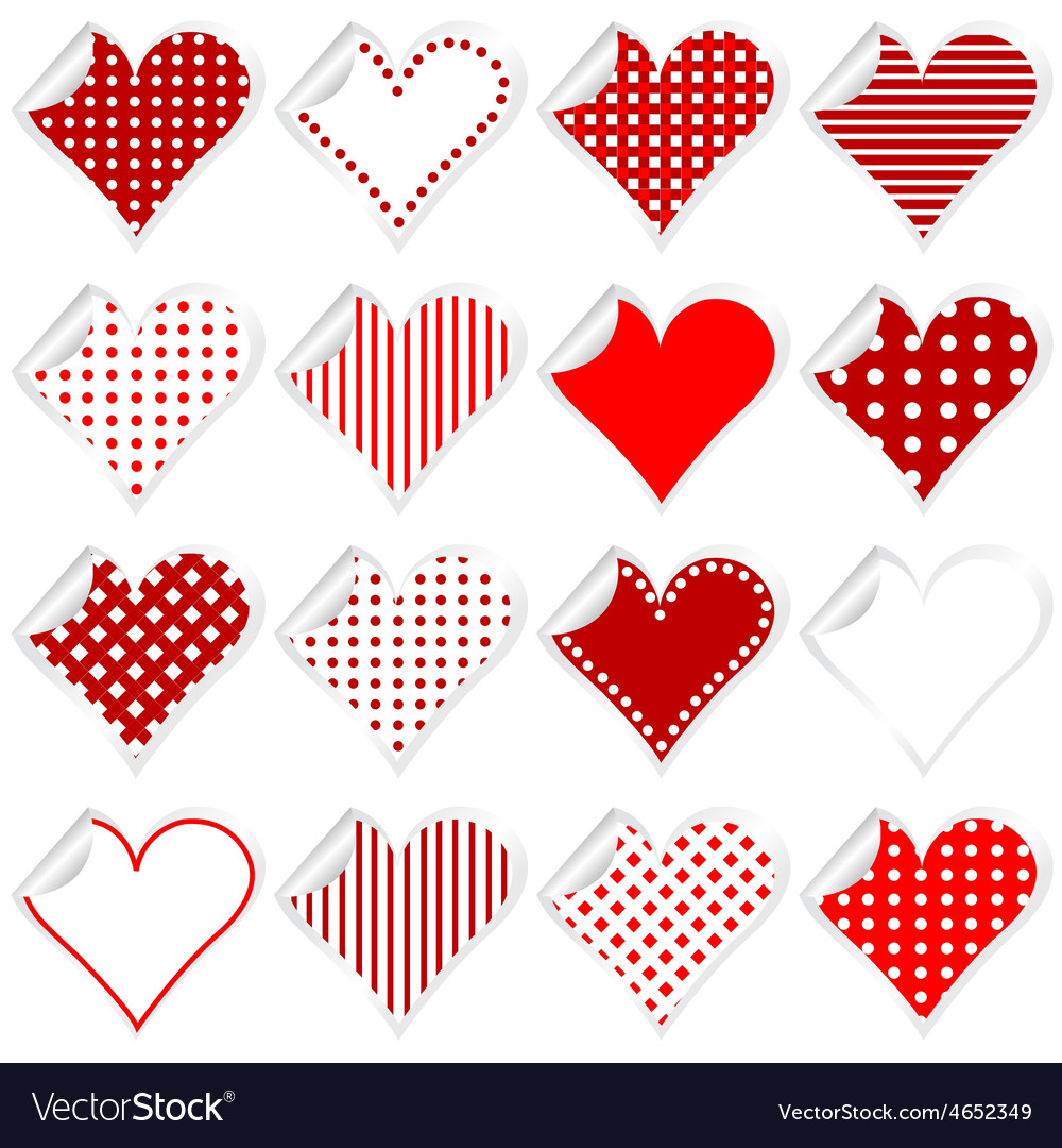 Collection of cute hearts stickers with twisted vector | Price: 1 Credit (USD $1)