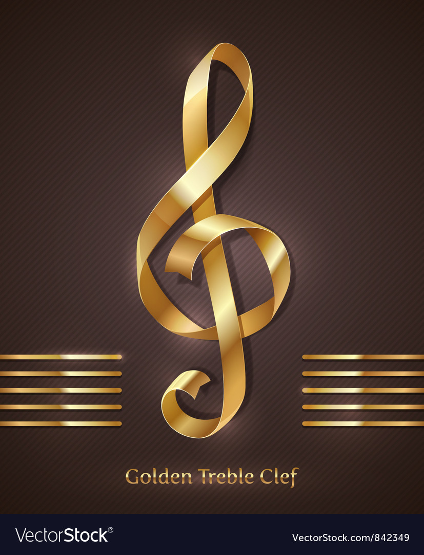 Gold ribbon in the shape of treble clef vector | Price: 1 Credit (USD $1)