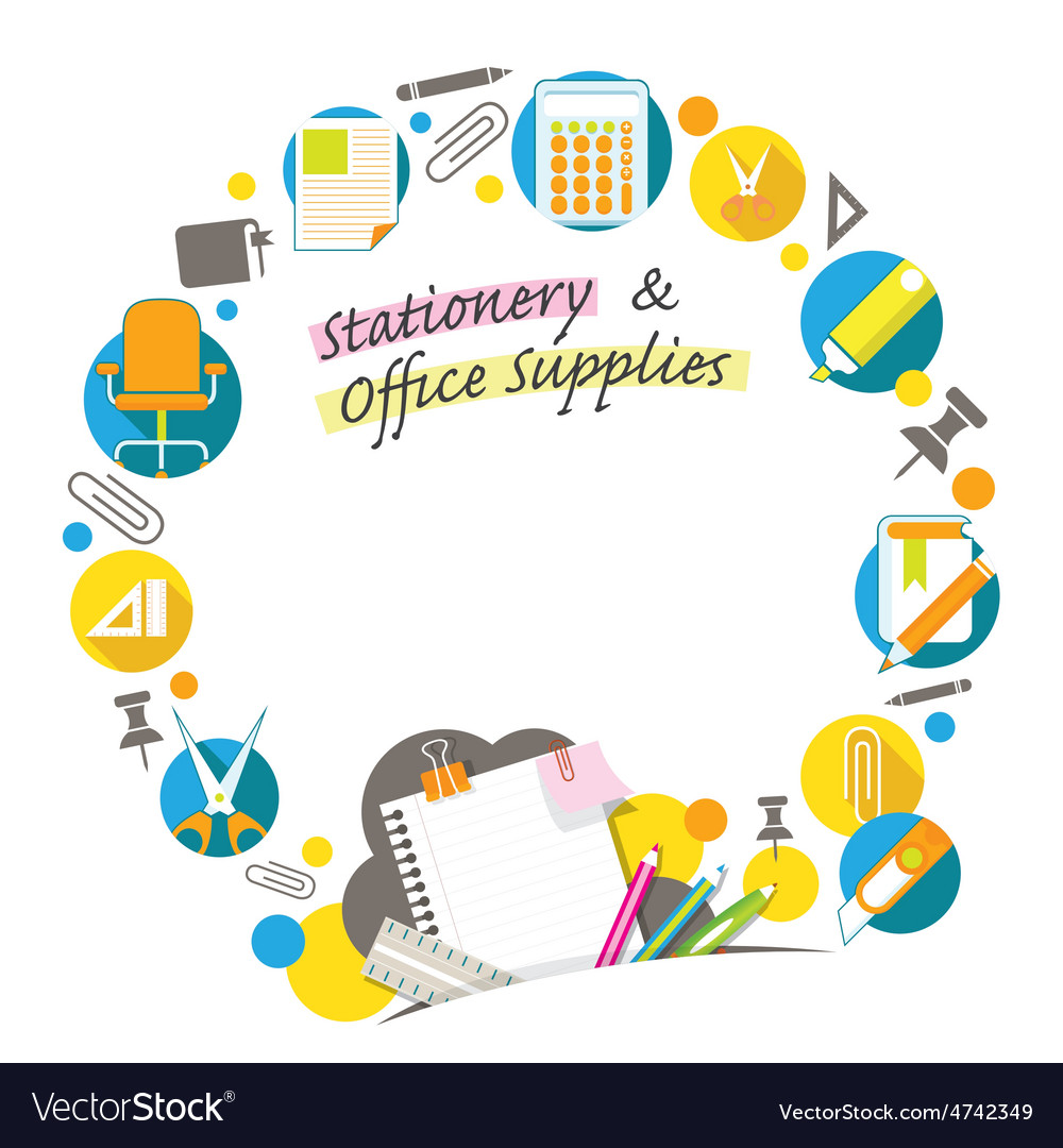 Office supplies and stationery background frame vector | Price: 1 Credit (USD $1)