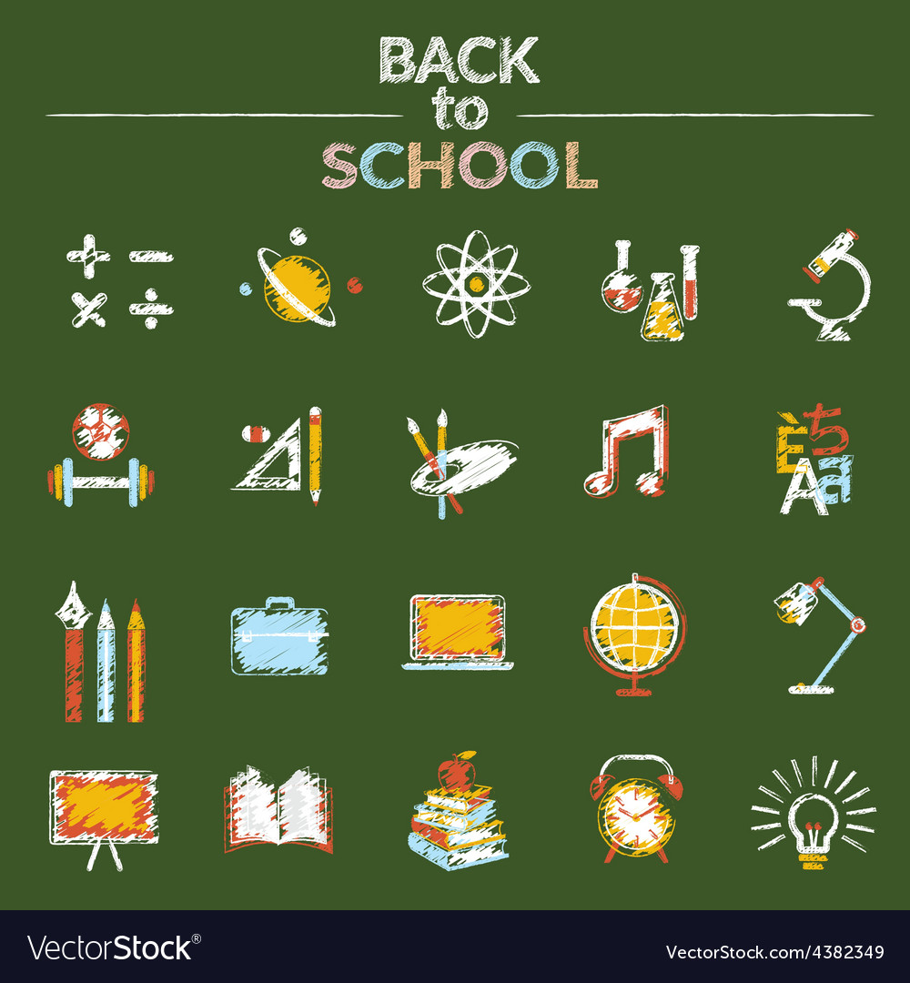School education icons set chalk style vector | Price: 1 Credit (USD $1)
