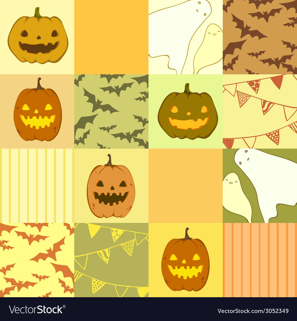 Seamless pattern with ghosts pumpkins bats vector | Price: 1 Credit (USD $1)