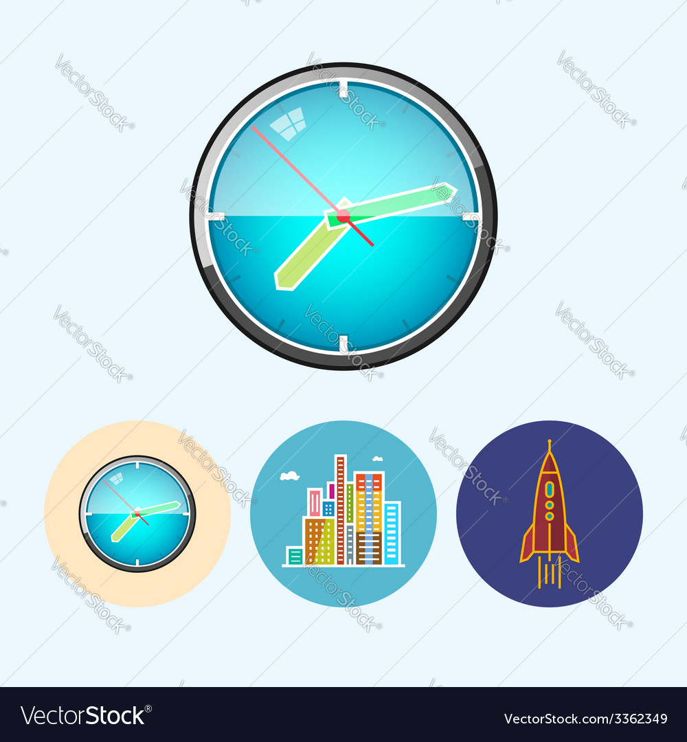 Set icons with colored wall clock modern buildi vector   Price: 1 Credit (USD $1)