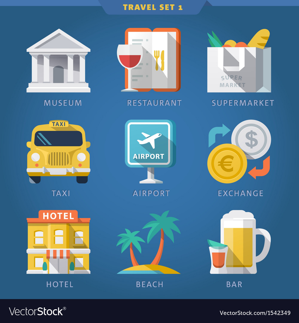 Travel icon set 1 vector | Price: 1 Credit (USD $1)