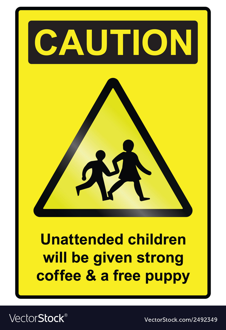 Unattended children hazard sign vector | Price: 1 Credit (USD $1)