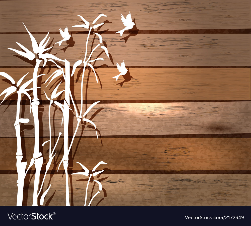 White bamboo and birds over wood background vector | Price: 1 Credit (USD $1)