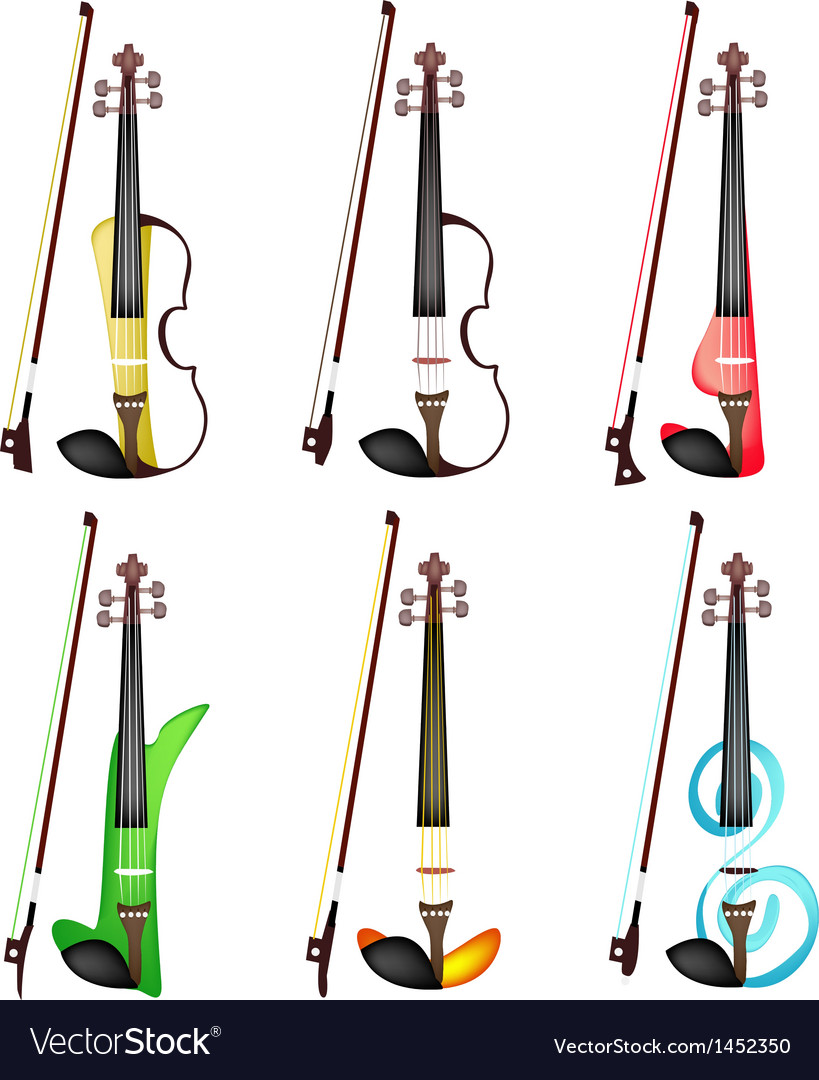 A set of colorful violins on white background vector | Price: 1 Credit (USD $1)