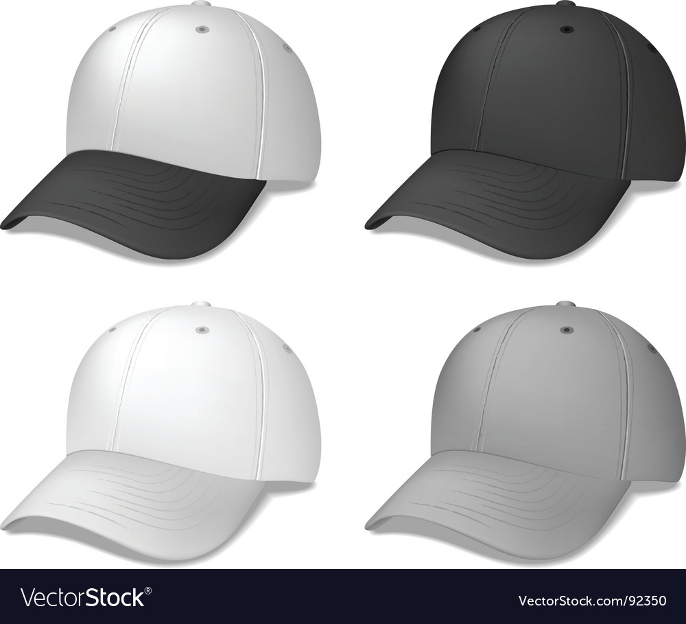 Baseball caps black and grey vector | Price: 1 Credit (USD $1)