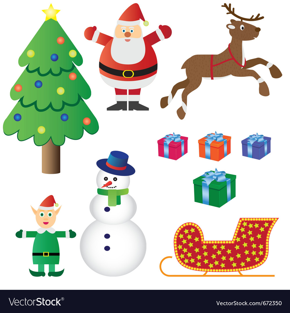 Christmas theme set vector | Price: 1 Credit (USD $1)