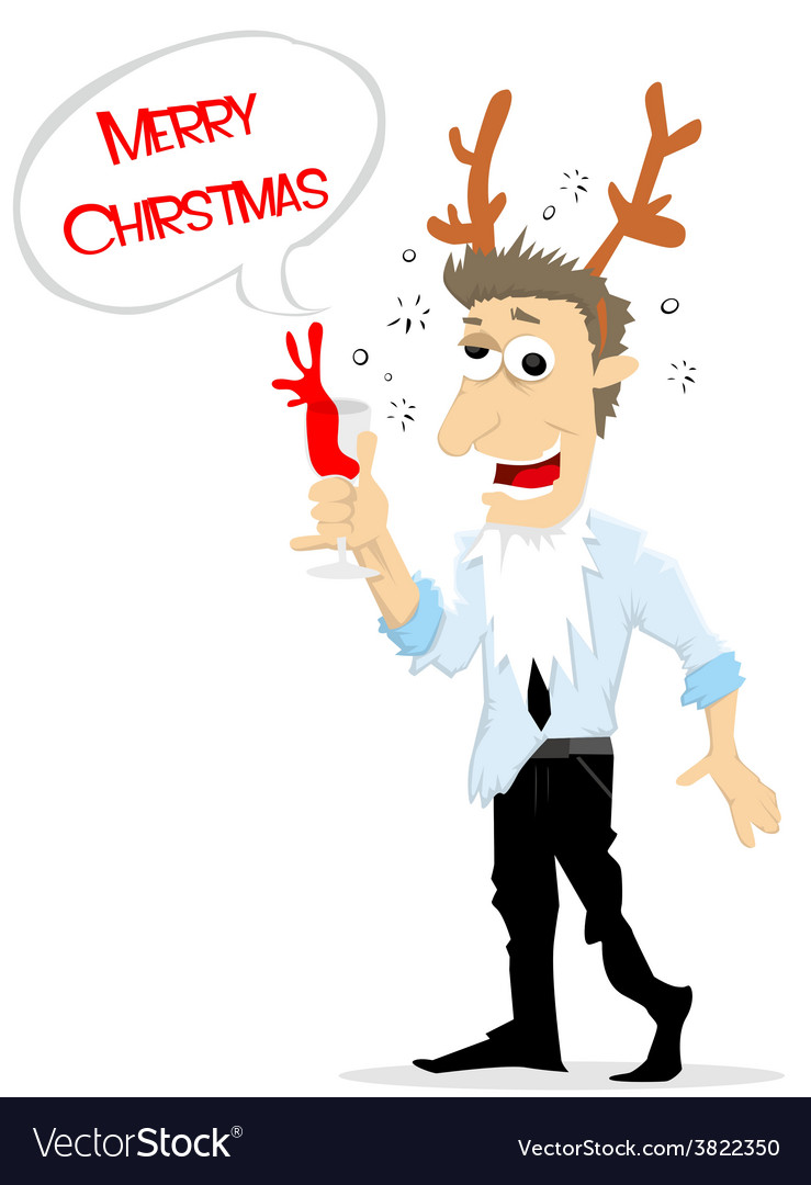 Drunk man in christmas party vector | Price: 1 Credit (USD $1)